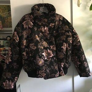 Free People Black Floral Bomber Jacket Size XS